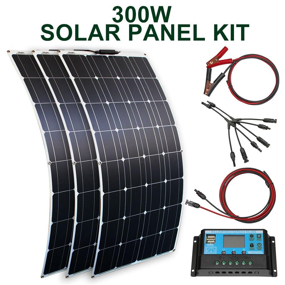 solar panel kit 300w 200w 100w flexible solar panels 12v 24v high efficiency battery charger module